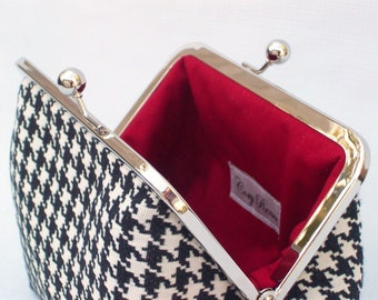 Houndstooth, Makeup Bag, Small Clutch, Fall Purse, Cosmetics Case, Kiss lock Silver Metal Frame