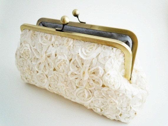 Wedding Clutch Bridal Purse Cream Ribbon Flowers 8 inch - LAST ONE