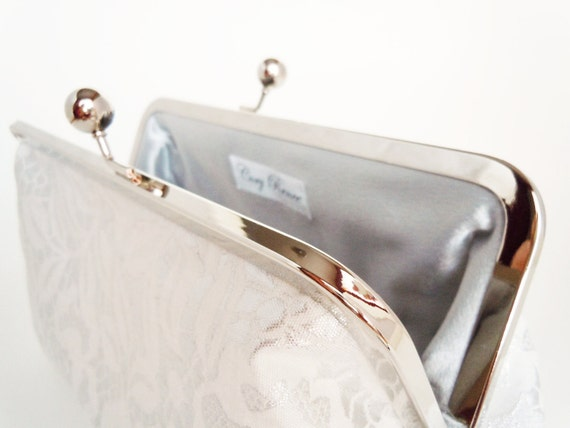 Bridal Clutch Bridesmaid Clutch for Wedding White and Silver Grey Interior