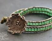Poppy Beaded Aventurine Stone Leather Wrap Bracelet