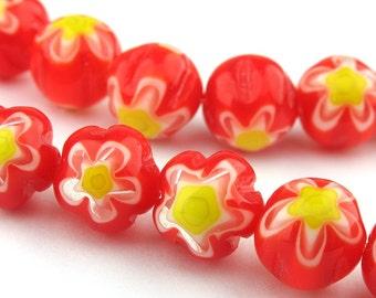 8pcs of 10.0mm Red Flower Millefiori Glass Round Beads