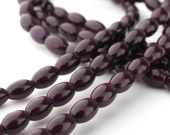 14pcs of 6x4mm Dark Violet Fossil Oat Beads