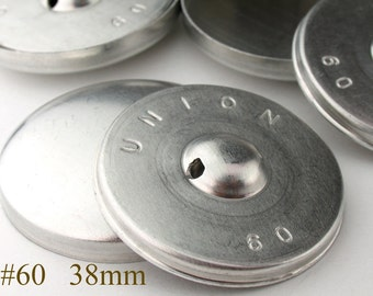 CBT0738012) 12pcs 38 mm Aluminium Back Cover Button (1 1/2inch, Size 60)