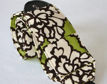 Ready to ship monogramming not available Wide Camera Strap for DSL camera grass green, brown and cream floral with lens cap pocket