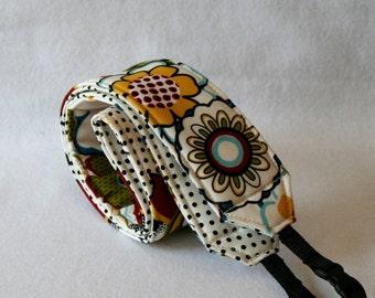 Monogramming Included Camera Strap for DSL Camera Funky Floral Print with White and Black Polk a Dot print reverse