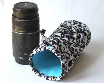 Camera  zoom lens case for DSL camera white and black damask print monogramming included