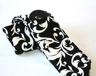 Ready to ship monogramming is not available Wide Camera Strap for DSL camera  black and white scroll print with lens cap pocket