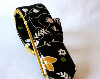 Ready to ship No monograming Camera Strap for DSL Camera Black, Mustard Yellow and Grass Green Floral Print with stripe print reverse