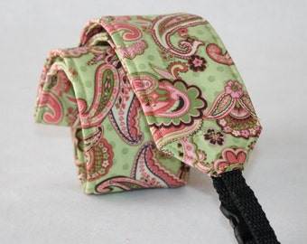 Monogramming Included Camera Strap for DSL Camera Sweet Green and Pink Paisley Print