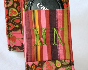 Monogramming included Wide Camera Strap for DSL camera Brown, pink  green floral with stripe reverse and lens cap pocket