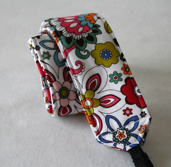 Ready to ship Monogramming is not available Camera Strap for DSL Camera White, Turquoise and Red Fun Funky Floral Print