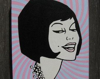 60's mod girl on box canvas