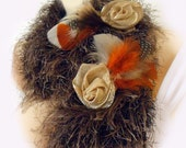 Knit scarf neckwarmer furry feather flower brooch brown ivory red