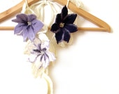 "Scarf with 3D felted flowers and crochet leaves freeform white blue lavender ""Clematis"""