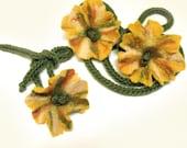 "SET felt scarf lariat necklace or belt and handband 3D freeform felted flowers lemon yellow lime olive green ""Autumn Flowers"""