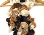 Crochet scarf with 3D freeform flowers and leaves. Prayer shawl. Brown white. Fall scarf