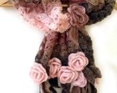 Crochet scarf, Freeform crochet, 3D crochet, Flower scarf, Prayer shawl, Leaf scarf, Etsy Gifts, Crochet stole, Lace crochet, Fringe scarf