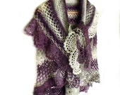 Crochet cape, Crochet shawl, Bridal cape, Ruffled shawl, Crochet lace shawl, Crochet stole, Shawl with frill, Crochet poncho, Prayer shawl