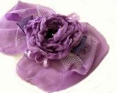 Wrist corsage. Bracelet cuff. Purple fabric flower wrist corsage. Prom wedding cuff. Bridal wrist corsage. Boho chic. Victorian