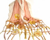Nuno felt scarf frill shawl fringe flowers autumn fall wedding chiffon wool