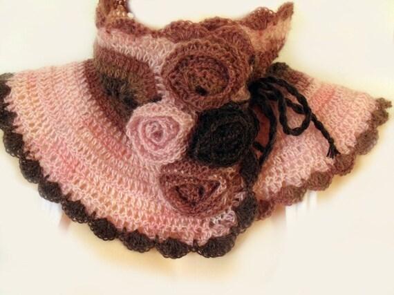 Crochet collar, Crochet neckwarmer, Crochet cowl, Collar scarf, Cowl with flowers, Victorian scarflette, Pink brown, Wool mohair acrylic