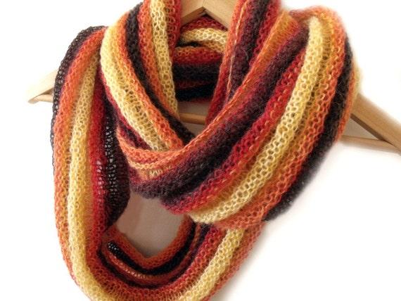 Knit scarf cowl neckwarmer hood orange yellow peach red brown