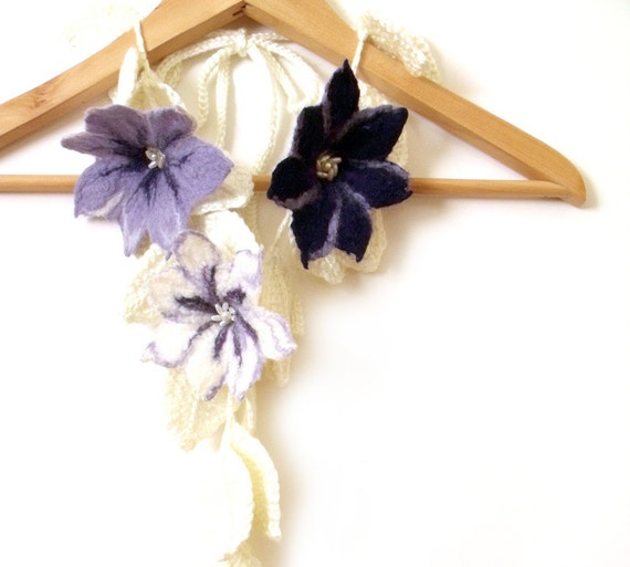 """Scarf with 3D felted flowers and crochet leaves freeform white blue lavender """"Clematis"""""""