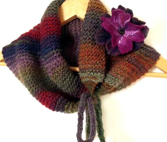 "RESERVED Knit scarf cowl with felt flower brooch purple lavender dark blue red mustard dust green  ""Autumn Wild Fowers"""