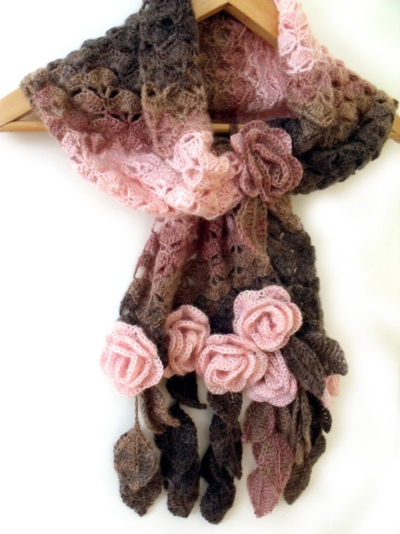 Crochet scarf with freeform 3D flowers and leaves. Prayer shawl.