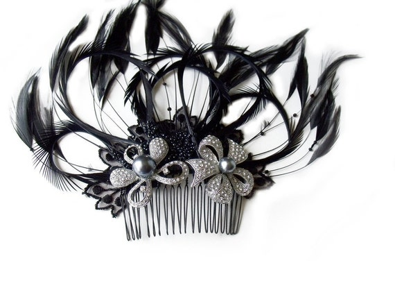 Fascinator hair comb white rhinestone flowers black feather gray pearls lace Victorian