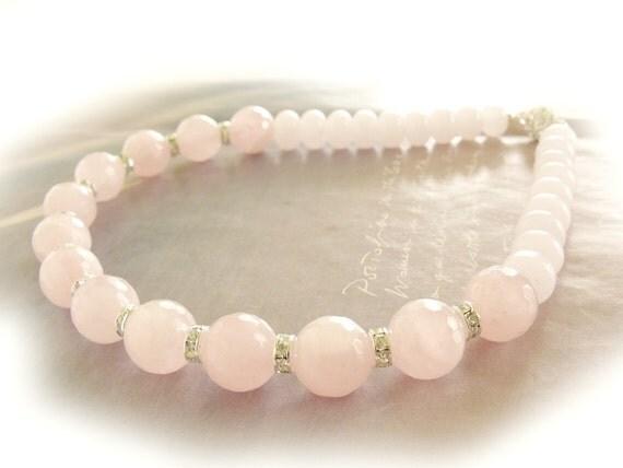 Rose quartz necklace with rhinestones bridal wedding pink pastel boho