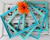 Turquoise and Aqua Frames Shabby Coastal Chic Home Decor Instant Collection