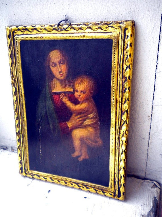Gold Leaf Vintage Wall Hanging/  Frame Lovely for Shabby Chic Holiday Decor On SALE