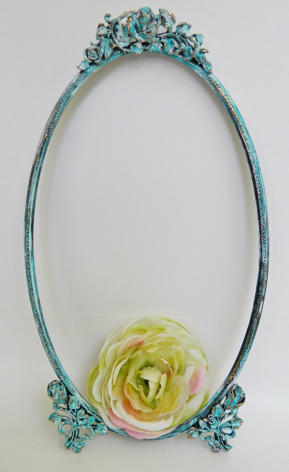 Sublime Aqua Vintage Floral Frame- Gorgeous for Shabby Chic/Cottage Chic & Paris Apartment Decor and Photo Props