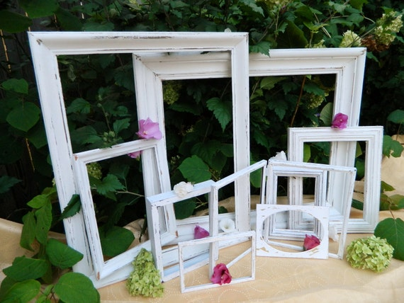 Set of Frames Chippy White Vintage Shabby Chic Instant Collection-Cottage Chic & Paris Apartment Home Decor
