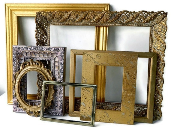 Hollywood Regency Home Decor Luxe Gold Picture Frames Instant Collection for Empty Frame Gallery