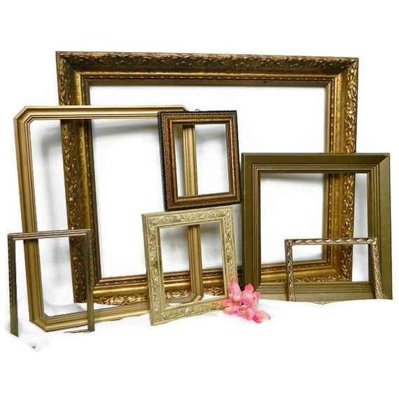 Hollywood Regency Gold Wall Frames  Instant Collection of 7 for Empty Frame Gallery Luxe Home Decor