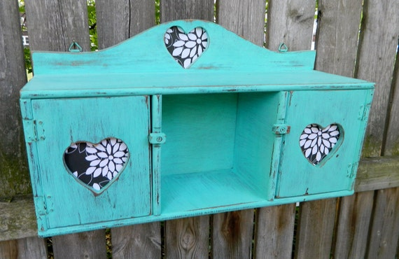 Distressed  Beach House Decor Turquoise Hanging Wall Cabinet Shelf Perfectly Charming and Shabby