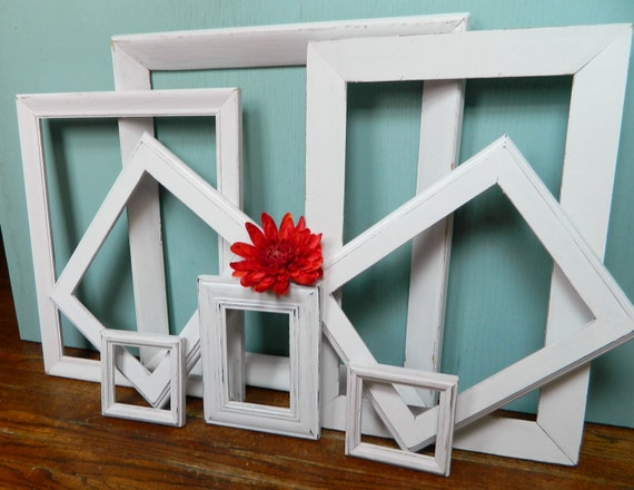 Ultra Chic Instant Collection of 8  Chippy White Vintage Picture Frames Paris Apartment Decor ,  Rustic Wedding Decoration