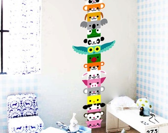 Cute Animals Totem Wall Decal / Sticker
