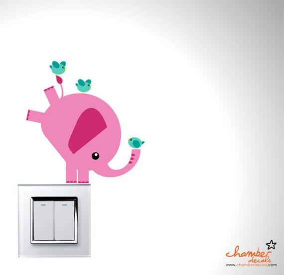 Cute Balancing Pink Elephant & Birds Wall Decal (Series - 01)