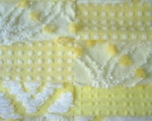 Vintage Yellow Chenille Bedspread Quilt Squares