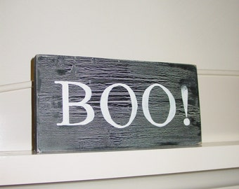BOO Hand Painted Wooden Sign