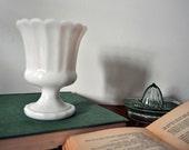 White Milk Glass Sundae Vase