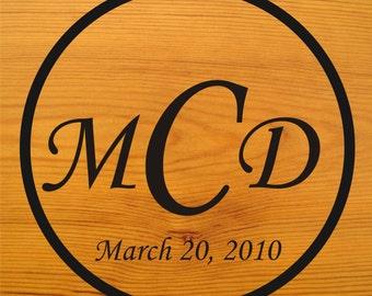 LARGE 36 inch 3 Letter Monogram Wedding Couple Reception Dance Floor Vinyl Decal (W-008)