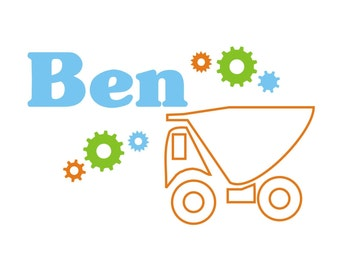 Dump Truck and Gear Name Vinyl Wall Decal (K-029)