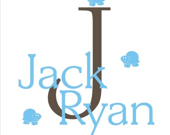 Turtle Monogram and Name Vinyl Wall Decal (K-003)