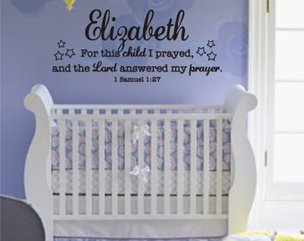 For This Child I Prayed WITH CHILD'S NAME and Stars - 1 Samuel 1:27 Vinyl Wall Decal (B-002)
