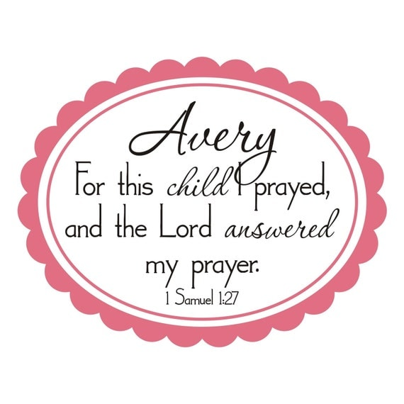 Scallop Oval Name with For This Child I Prayed Bible Verse Vinyl Wall Decal (B-034)