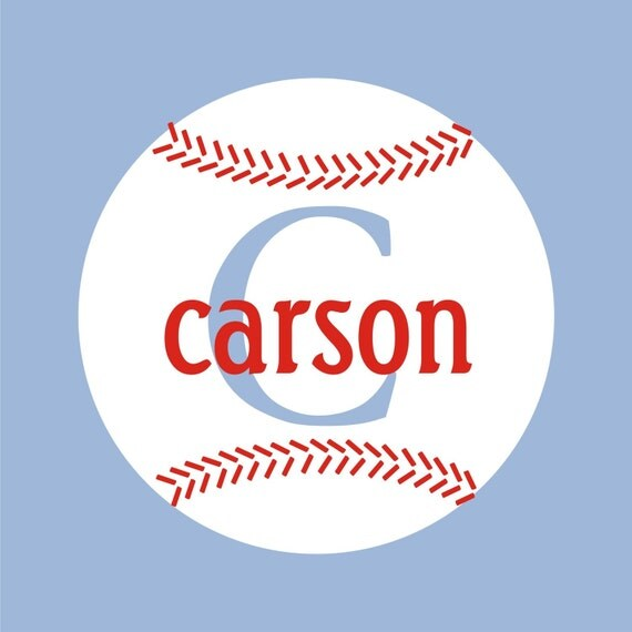TWO color Baseball with Monogram and Name Vinyl Wall Decal (k-040)